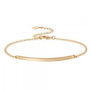 Aobei Pearl Handmade Curved Bar Bracelet on 18 K Gold Plated Chain and Lobster Clasp, Link Chain Bracelet, Adjustable Bracelet, ETS-B567