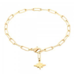 Aobei Pearl Gold Curb Chain Bracelet Adjustable Chain Link Bracelet Handmade North Star Charm Jewelry for Women, ETS-B569