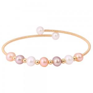 Aobei Pearl Boho Freswahter Pearl Beaded Cuff Bracelet Gold Wire Bangle for Women Handmade June Birthstone Bracelet, ETS-B570