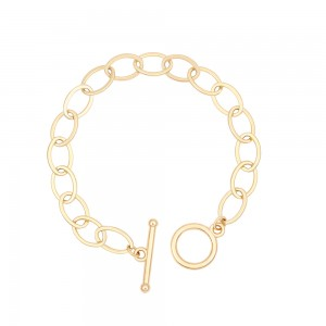 Aobei Pearl 7 Inch Gold Interlocking Chain Bracelet 18K Gold Plated shiny Handmade anklet Chain Link, Charm Jewelry for Women ETS-B581
