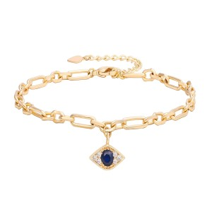 Aobei Pearl 7 Inch Gold Evil Eye Chain Bracelet 18K Gold Plated shiny Handmade anklet adjustable Chain Link, Charm Jewelry for Women ETS-B582
