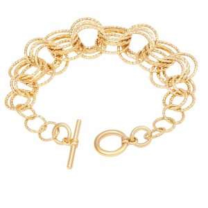 Aobei Pearl 7 Inch Gold OT Clasp Closure Chain Bracelet 18K Gold Plated shiny Handmade anklet adjustable Chain Link, Charm Jewelry for Women ETS-B583