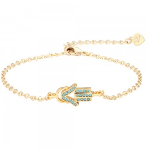 Aobei Pearl 7 Inch Gold Blue Glass Diamond Chain Bracelet 18K Gold Plated shiny Handmade anklet adjustable Chain Link, Charm Jewelry for Women ETS-B585