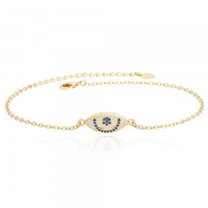 Aobei Pearl 7 Inch Chain Demon Eye Bracelet 18K Gold Plated shiny Handmade anklet adjustable Chain Link, Charm Jewelry for Women ETS-B587