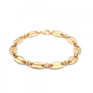 Aobei Pearl 18K Gold Chunky Coffee Beans Chain Bracelet for Women Girls Fashion Pig Nose Link Bracelet, ETS-B588