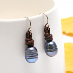 Aobei Pearl - Black pearl earrings, pearl leather earrings, ETS - E037