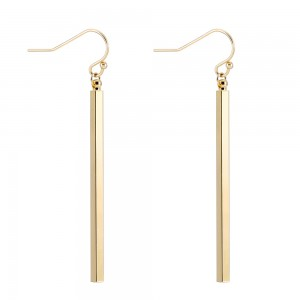 Aobei Pearl Dainty Vertical Bar Dangle Earring made of 18K Gold Plated Copper, Handmade Drop Earring for Women, ETS-E285
