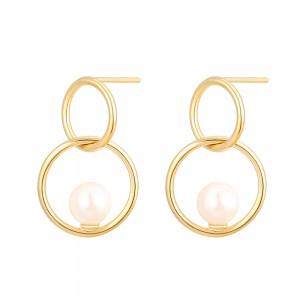 Aobei Pearl Karma Circle Dangle Earring, Dainty Gold Stud Earring, Handmade Shell Pearl Jewelry for Women, ETS-E294