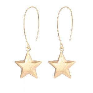 Aobei Pearl Large Gold Hook Earring 3D Star Dangle Earrings for Women Handmade Gold Jewelry for Women, ETS-E307