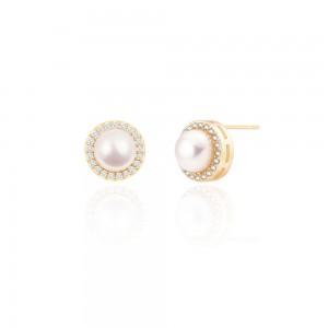 Aobei Pearl Freswater Pearl Stud Earring for Women Cubic Zirconia Sunflower Halo Post Earring Handmade June Birthstone Jewelry Fashion Pearl Earrings, ETS-E309