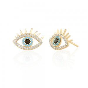 Aobei Pearl Dainty Evil Eye Earring Cubic Zirconia Stud Earring for Women Gemstone Post Earring Handmade Fashion Jewelry, ETS-E310