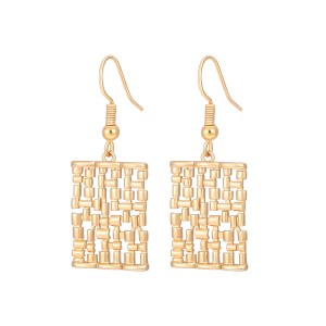 Aobei Pearl Dainty Braided Square Dangle Earring, Gold Hollow Square Drop Earring for Women, Hook Earring, ETS-E325