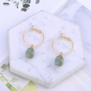 Aobei Pearl Handmade 18K Gold Huggie Hoop Turquoise Dangle Earrings for Women Girls, Natural Turquoise Beads Drop Earring, Fashion Gold Earring for Mother's Day, ETS-E343