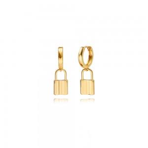 Aobei Pearl Lock Dangle Hoop Earrings for Women 18K Gold Plated Dainty Huggie Hoop Simple Boho Hypoallergenic Jewelry,Earrings for Women Girls, ETS-E371