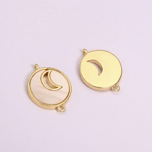 Aobei Pearl, 5 PCS From The Sale, 18k Gold-Plated Round Pendant With Moon In The Middle, Charm Pendant For Jewelry Making, Jewelry Discovery, DIY Jewelry Material.ETS-K1300