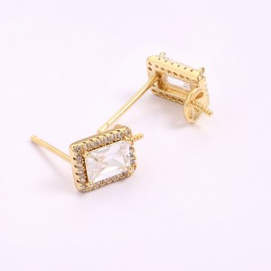 Aobei Pearl ,3 PCS From The Sale, 18K Gold-Plated CZ Pavé Rectangular Earring Pendant, Earring Hook For Jewelry Making, Jewelry Findings, DIY Jewelry Material, Making Supplies ETS-K1343