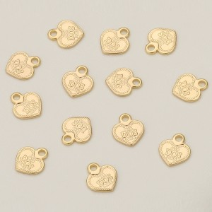 Aobei Pearl, 20 PCS from the Sale, 18K Gold Plated Heart Charm for Jewelry Making, Jewelry Findings, DIY Jewelry Material, ETS-K347
