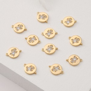 Aobei Pearl, 4 PCS from the Sale, 18K Gold Plated Round CZ Turtle Disc Charm for Jewelry Making, Jewelry Findings, DIY Jewelry Material, ETS-K379