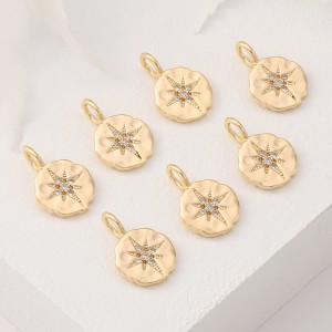 Aobei Pearl, 5 PCS from the Sale, 18K Gold Plated CZ North Star Charm for Jewelry Making, Jewelry Findings, DIY Jewelry Material, ETS-K381
