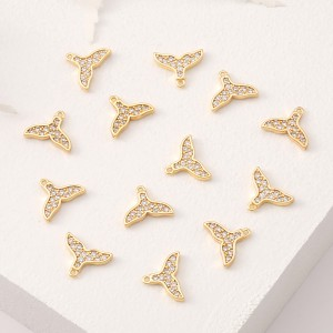 Aobei Pearl, 5 PCS from the Sale, 18K Gold Plated CZ Whale Tail Charm for Jewelry Making, Jewelry Findings, DIY Jewelry Material, ETS-K383