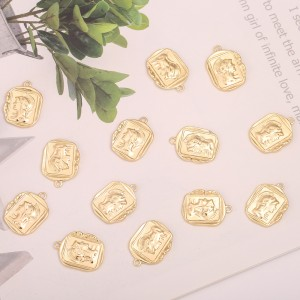 Aobei Pearl, 5 PCS from the Sale, 18K Gold Plated Rectangle Roman Medallion Charm for Jewelry Making, Jewelry Findings, DIY Jewelry Material, ETS-K390