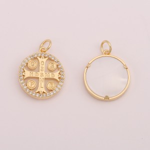 Aobei Pearl,2PCS 18k gold plated coin cross Medallion Charm pendant for Jewelry finding,Adjustible Dainty Necklace, charm Jewelry for Women Necklace, ladies gifts ETS-K611