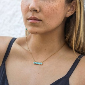 Aobei Pearl Turquoise Bar Pendant Necklace 18K Gold Chain Choker Handmade Adjustable Jewelry for Women Boho Gemstone Necklace, ETS-S1012