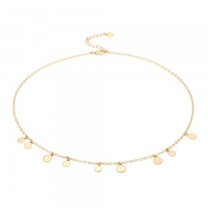 Aobei Pearl,18k gold plated Necklace, adjustible lobster clasp ,irregular thick disc charm,Jewelry for Women Necklace,ETS-S1023