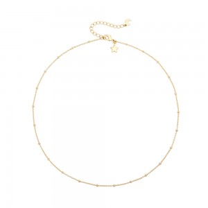 Aobei Pearl,18k gold plated Satellite beaded chain star &moon choker Necklace, adjustible lobster clasp ,dainty star &moon pendant charm,Jewelry for Women Necklace,ETS-S1024