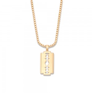 Aobei,18k gold plated razor blade pendant necklaces,2mm sturdy box chain,dainty pendant dangling Necklace,Fashion Adjustable necklaces,Jewelry for Women Necklace, ladies gifts ETS-S1065
