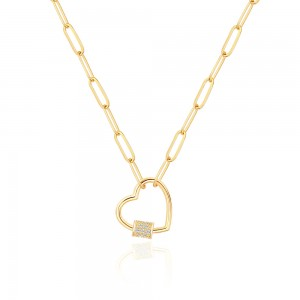 Aobei Pearl,18K Gold Paperclip Chain Necklace Fashion Open Love Heart Pendant Necklace with Micro-pave Cubic Zirconia Screw Lock Carabiner Lock Neck Jewelry for Women Girls.ETS-S1154