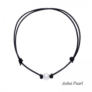 Aobei Pearl - Handmade Pearl Choker Necklace made of Freshwater Pearl and Genuine Leather Cord, Adjustable Pearl Necklace, ETS-S691
