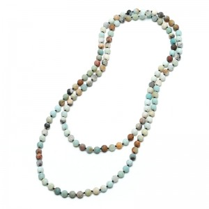 "Aobei Pearl Handmade 47.5"" Amazonite Endless Necklace, Knotted Necklace, Long Beaded Necklace, 8 mm Natural Amazonite Necklace, ETS-S732"