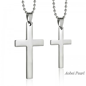 Aobei Pearl, Handmade Necklace made of Stainless Steel Cross Pendant on Stainless Steel Beaded Chain, Pendant Necklace, ETS-S880