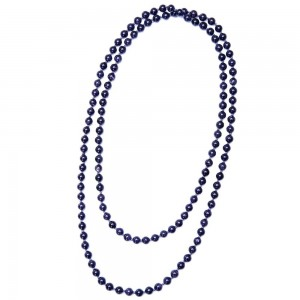 """Aobei Pearl Handmade 47.5"""" Blue Goldstone Beads Endless Necklace, Knotted Necklace, Long Beaded Necklace, Gemstone Necklace, ETS-S981"""