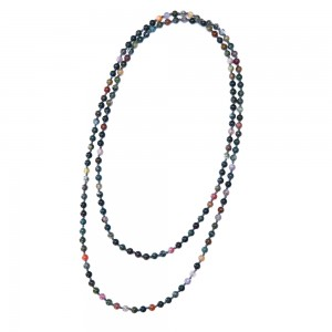 Aobei Pearl Handmade Necklace with Natural Indian Agate Stones and Cotton Thread, Long Beaded Necklace, Endless Necklace, Knotted Necklace, ETS-S985