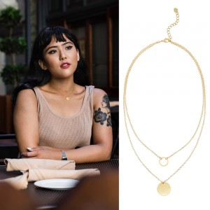 Aobei Pearl 18K Gold Chain Choker Necklace Karma and Disc Pendant Necklace Handmade Adjustable Jewelry for Women, Layering Necklace, Circle Necklace, ETS-S986