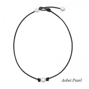 Aobei Pearl, Handmade Choker Necklace with Freshwater Pearl and Genuine Leather Cord, Adjustable Pearl Choker, ETS-S1001-4