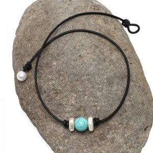Aobei Pearl - Handmade Necklace with White Square Freshwater Pearl, Turquoise Beads and Genuine Leather Cord, ETS-S572