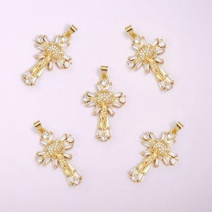 Aobei Pearl,2 PCS From the Sale , 18K Gold-Plated Cross Flower-shaped Jewelry Set with Round and Square Gemstones. Jewelry Findings, DIY Jewelry Material,ETS-K1192