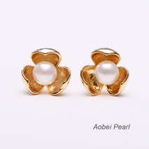 Aobei Pearl, Handmade Stud Earring with Freshwater Pearl and Copper Accessory Plated with Gold, Pearl Earring, Gold Earring, ETS-E074