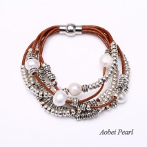Aobei Pearl - Handmade Bracelet made of 10-11 mm White Potato Freshwater Pearl with 2.5 mm Hole, Genuine Leather Cord and Alloy Accessory, Pearl Bracelet, Wrap Bracelet, ETS-B292