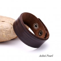 Aobei Pearl, Handmade Bracelet with Genuine Leather Cord, Leather Cuff Bracelet, ETS-B408