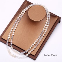 Aobei Pearl, Handmade Necklace made of Freshwater Pearl and Crystal Beads, Pearl Necklace, Beaded Necklace, Wrap Necklace, ETS-S122