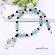 Aobei Pearl Handmade Necklace made of Matte Glass Beads, Genuine Leather Cord and Freshwater Pearl, Beaded Necklace, Pearl Necklace, Tassel Necklace, ETS-S604
