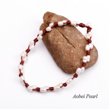 Aobei Pearl - Handmade Necklace made of Black / Dark Brown / Red Smooth Leather Cord & Freshwater Pearl, Beaded Necklace, Leather Pearl Necklace, Choker Necklace, ETS-S234