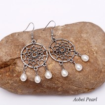 Aobei Pearl - Freshwater Pearl & Alloy Accessory Earring, Dangle Earring, Pearl Earring, ETS-E072