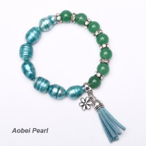 Aobei Pearl Handmade Bracelet made of 11-12 mm Blue Rice Shape Pearls and Green Agates with a Suede Tassel and a Alloy Charm, Beaded Bracelet, Pearl Bracelet, Tassel Bracelet, Charm Bracelet, ETS-B295