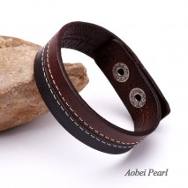 Aobei Pearl Handmade Bracelet made of Genuine Leather Cord and Alloy Clasp, Leather Bracelet, Cuff Bracelet, Bend Bracelet, ETS-B409