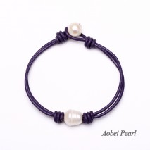 Aobei Pearl - Handmade Bracelet with Multi-color Leather Cord and Freshwater Pearl, Well Design Vintage Leather Bracelet, ETS-B004